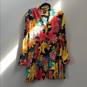 INSIGHT FLORAL PRINTED LONG SLEEVE DRESS